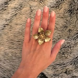 Gold Flower Ring with Gemstone